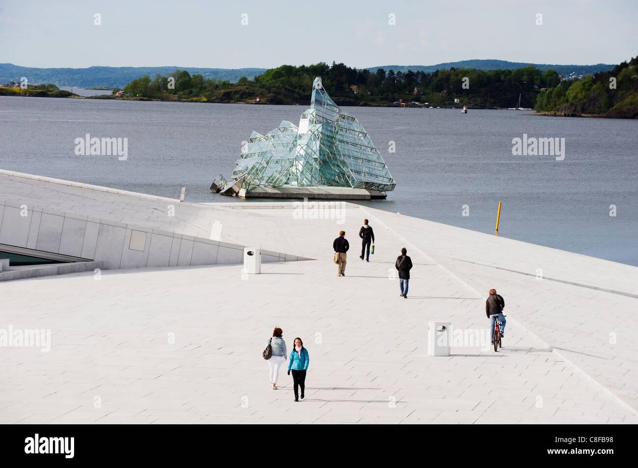 Floating art iceberg on the waterfront in Oslofjord, Oslo, Scandinavia - Stock Image