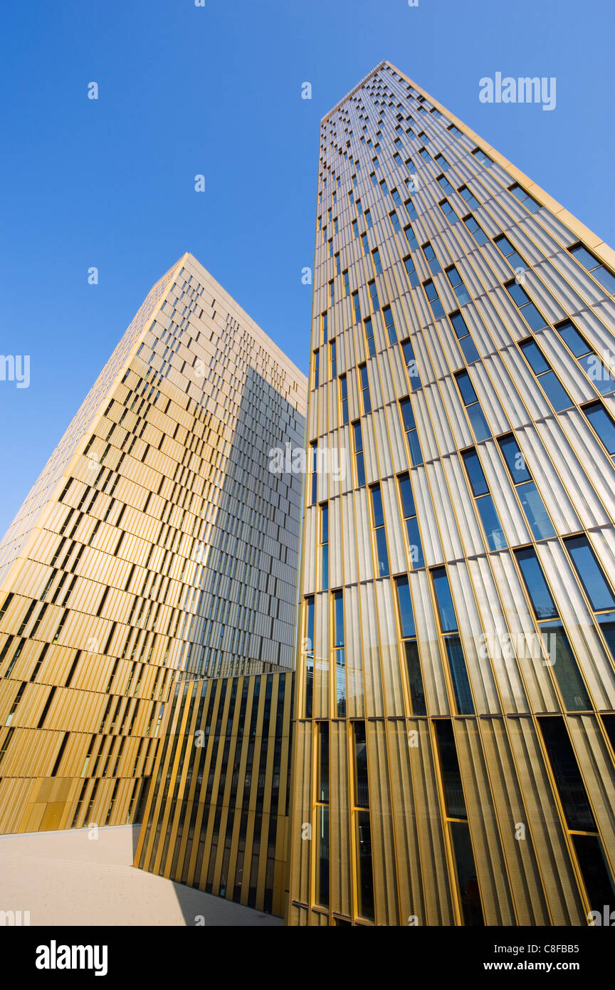 Court of Justice of EC, modern architecture of the EU district on Kirchberg Plateau, Luxembourg City, Grand Duchy - Stock Image