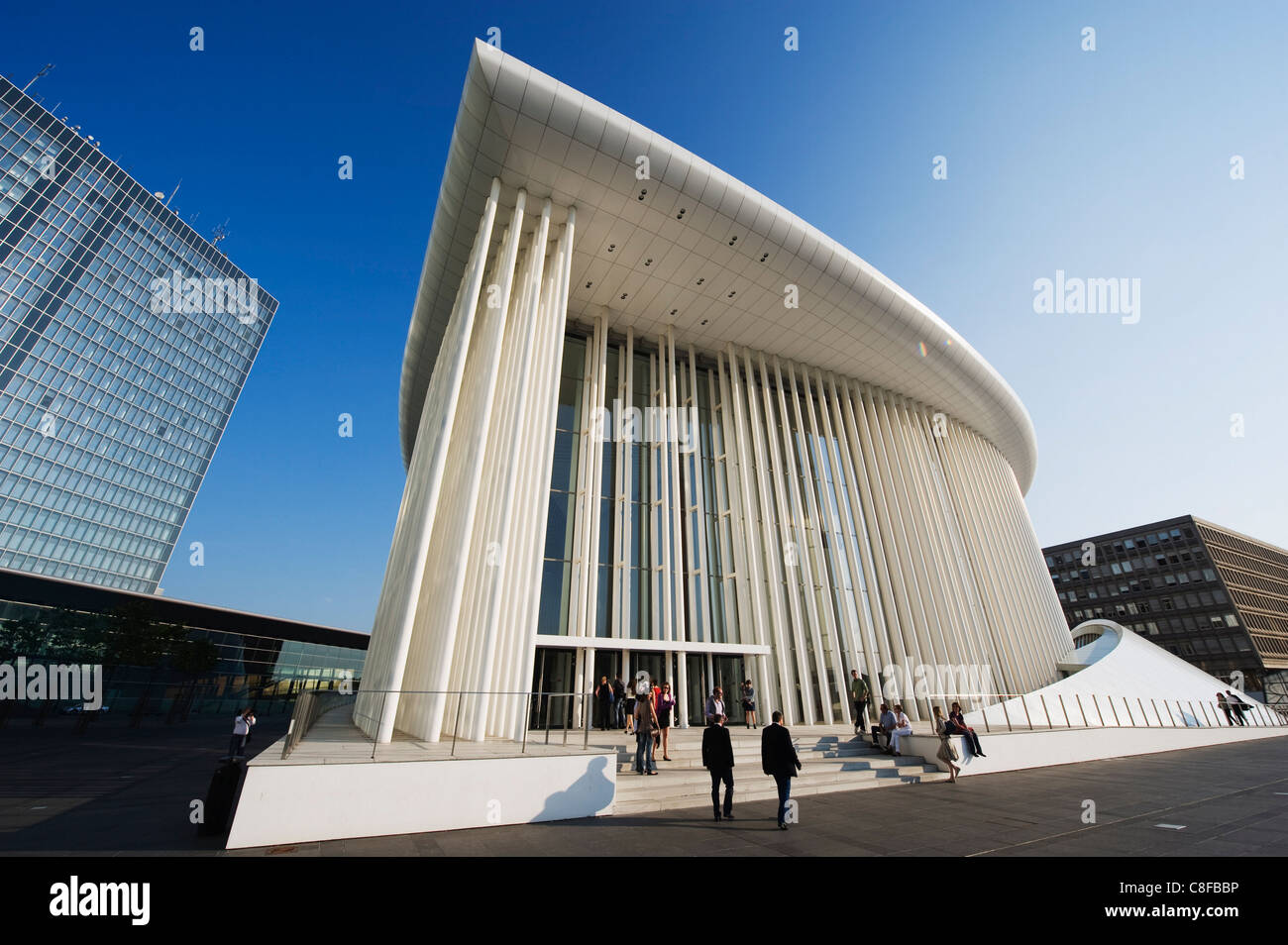 Philharmonie concert hall, modern architecture of EU district on Kirchberg Plateau, Luxembourg City, Grand Duchy - Stock Image