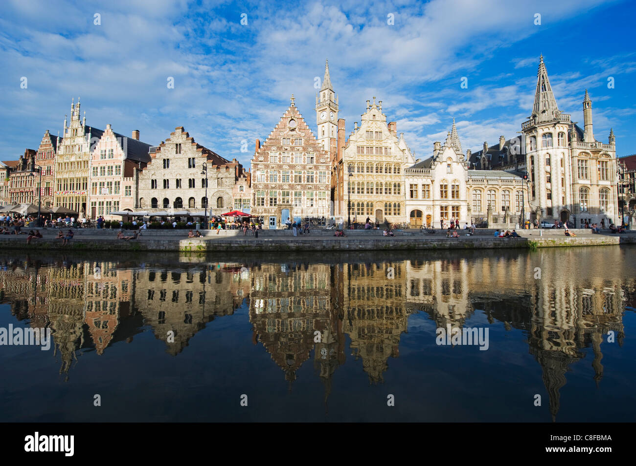 Reflection of waterfront town houses, Ghent, Flanders, Belgium - Stock Image