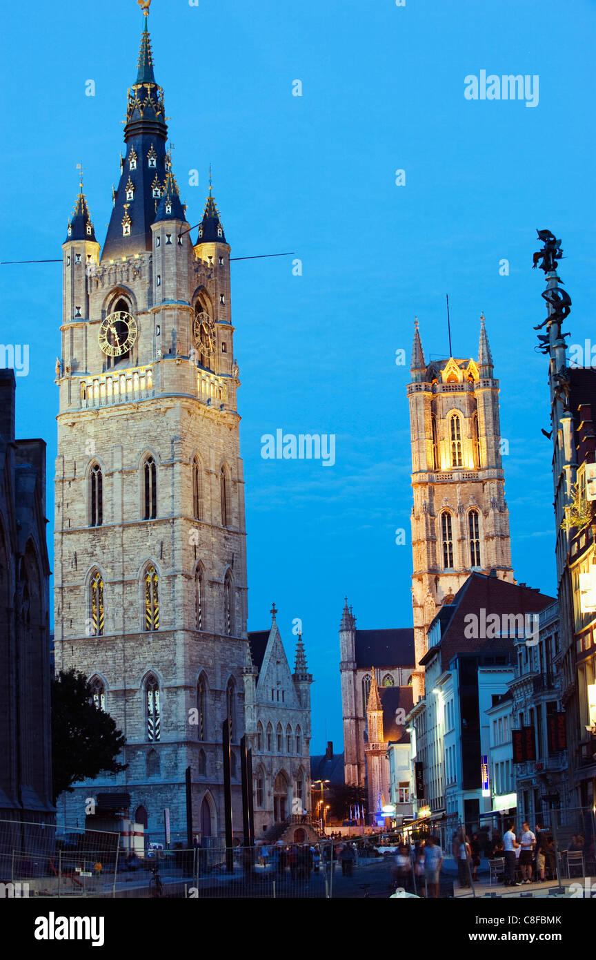 Belfort belfry and St. Baafskathedraal (St. Baafs Cathedral, UNESCO World Heritage Site, Ghent, Flanders, Belgium - Stock Image