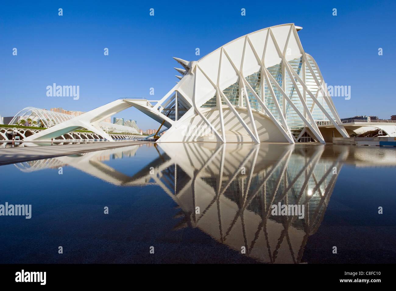 Science Museum, architect Santiago Calatrava, City of Arts and Sciences, Valencia, Spain - Stock Image