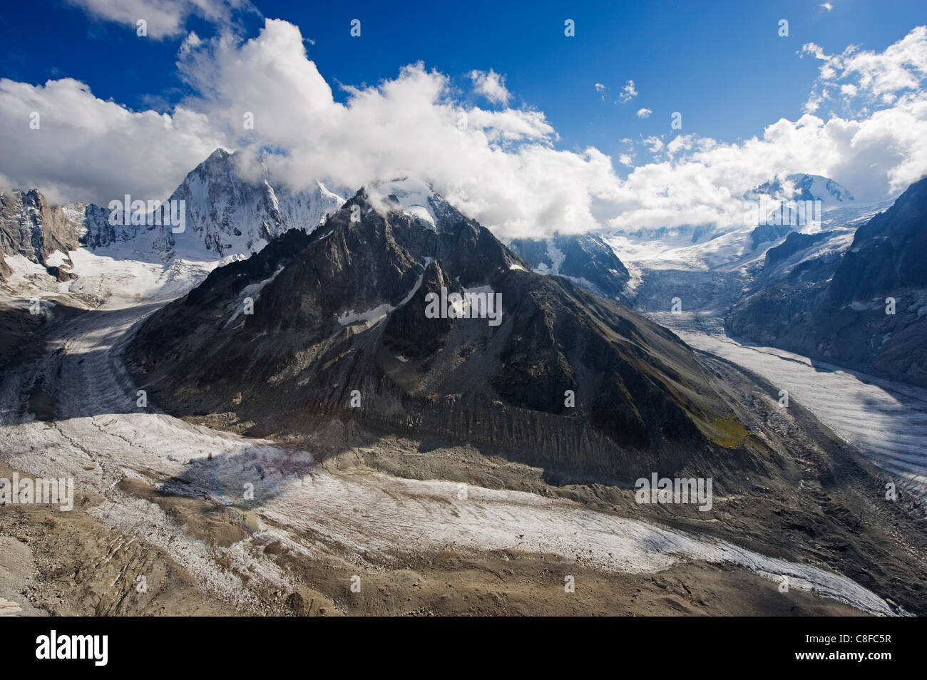Mer de Glace glacier, Mont Blanc range, Chamonix, French Alps, France - Stock Image