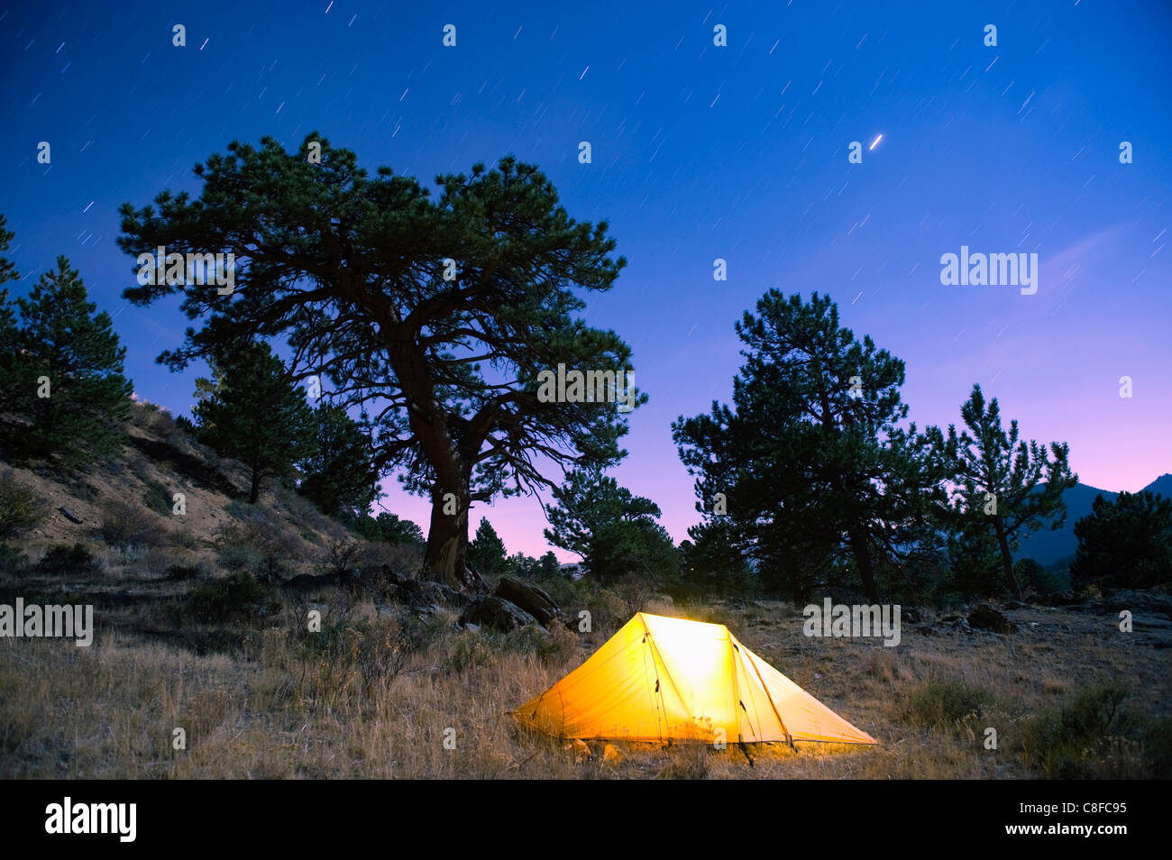 Tent illuminated under the night sky, Rocky Mountain National Park, Colorado, United States of America - Stock Image