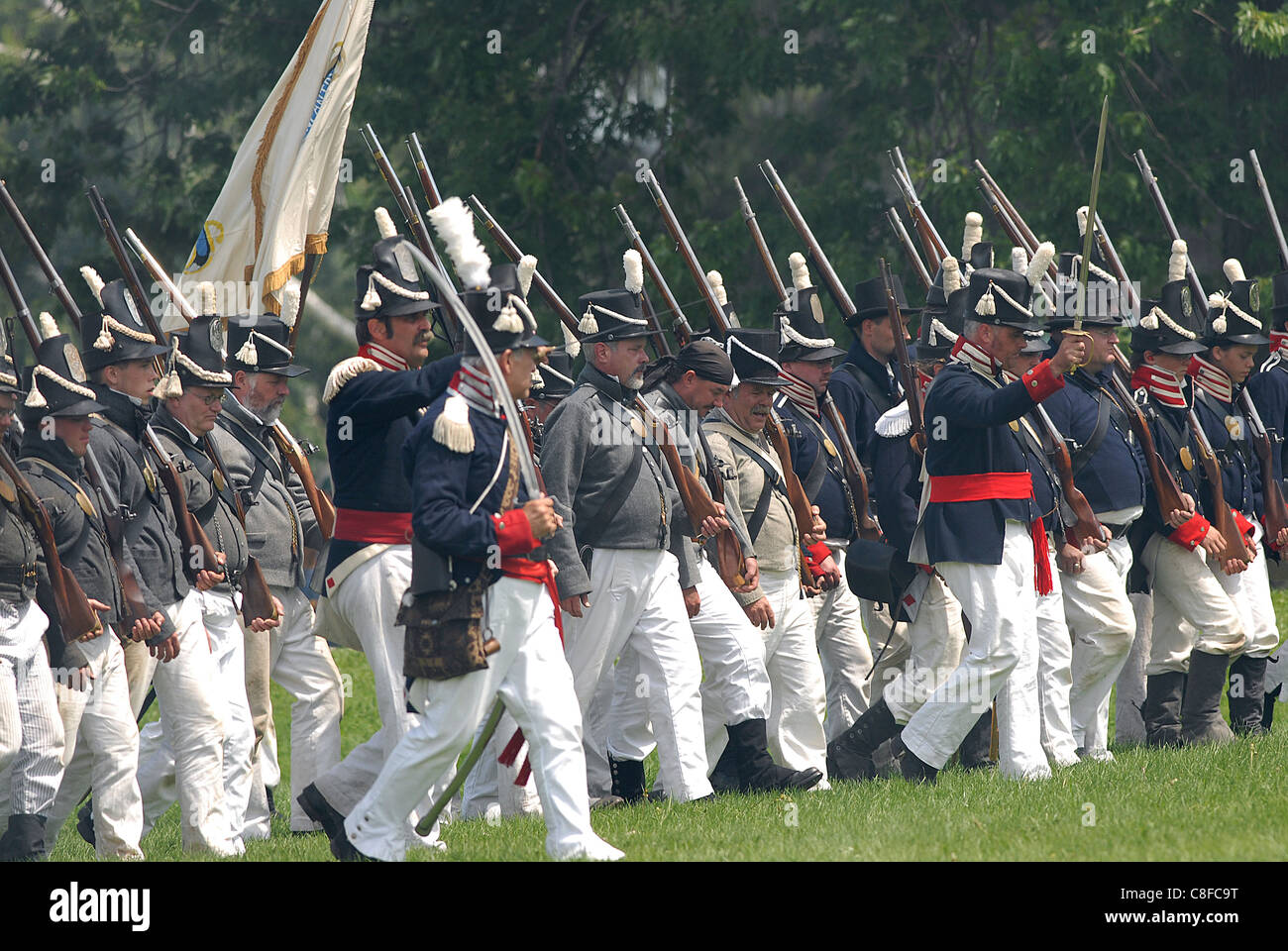 American soldiers advance during the Siege of Fort Erie War of 1812 battle  reenactment - Stock