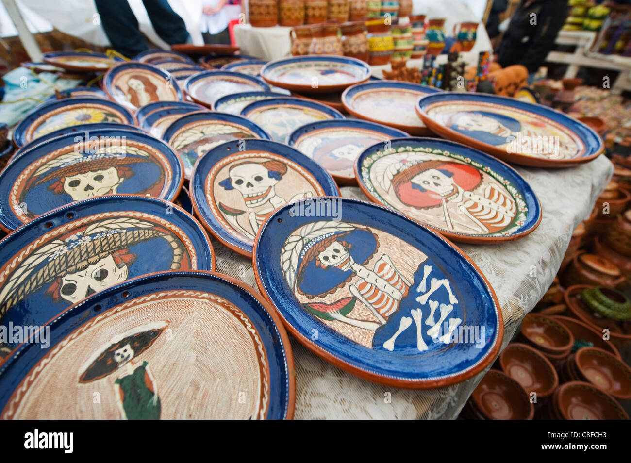 Skeleton pattern on ceramics for sale in the market during Day of the Dead festival & Patzcuaro Day Of The Dead Stock Photos u0026 Patzcuaro Day Of The Dead ...