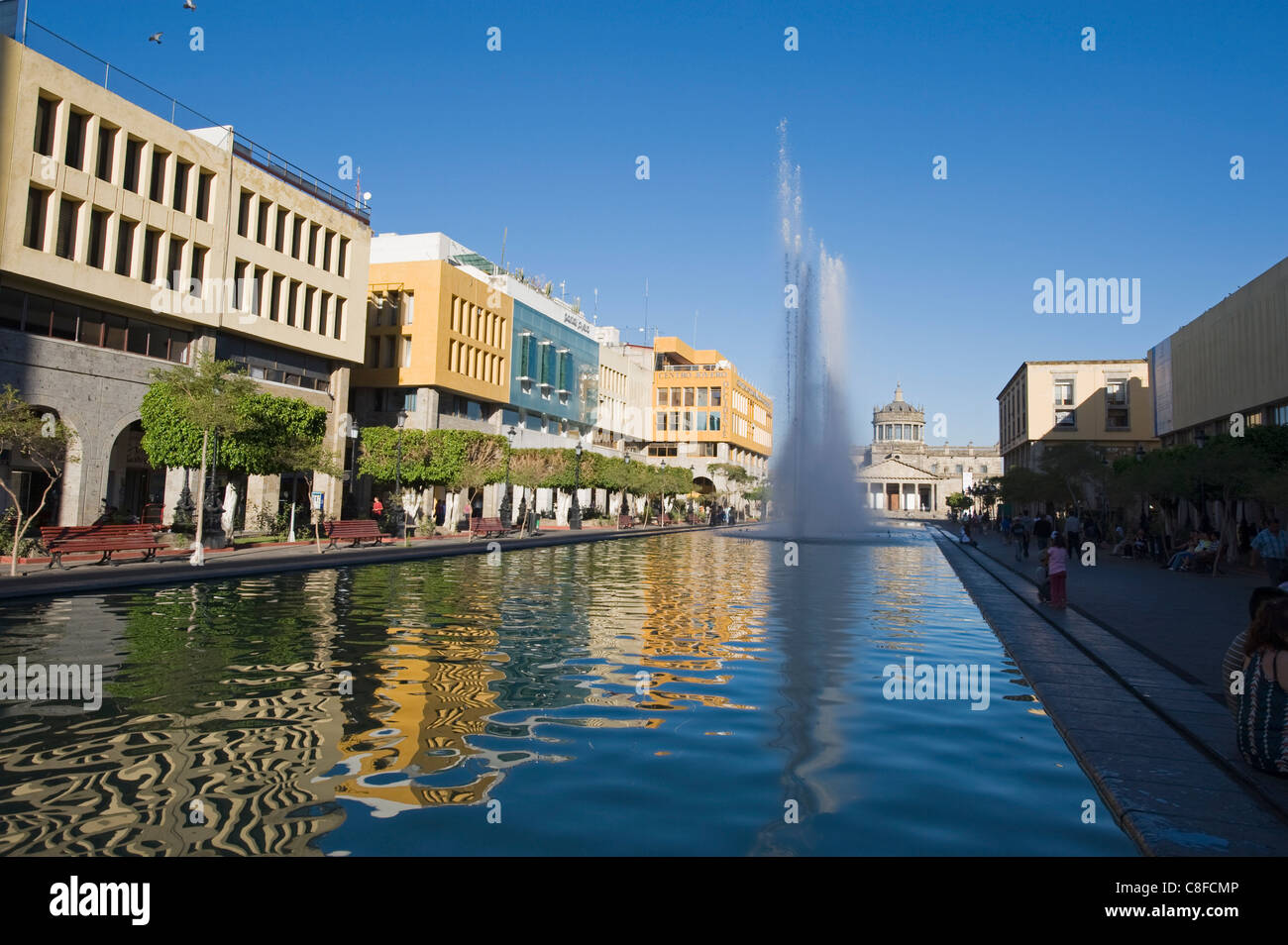 Water fountain at Instituto Cultural de Cabanas, UNESCO World Heritage Site, Guadalajara, Mexico - Stock Image