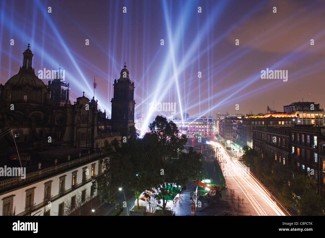 Light show at Cathedral Metropolitana, District Federal, Mexico City, Mexico - Stock Image