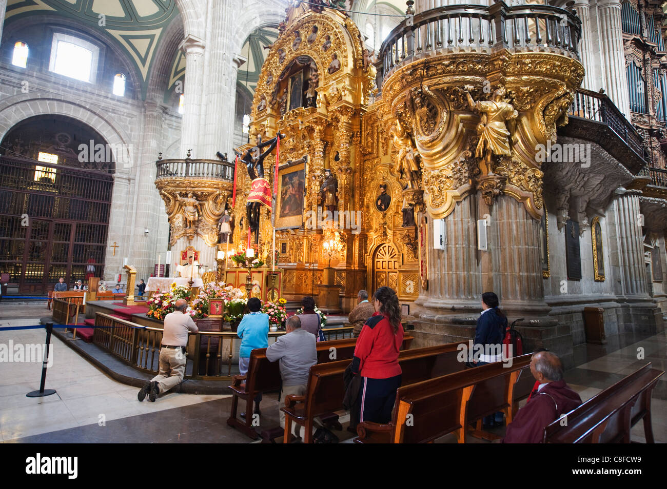 Church service at Cathedral Metropolitana, District Federal, Mexico City, Mexico - Stock Image