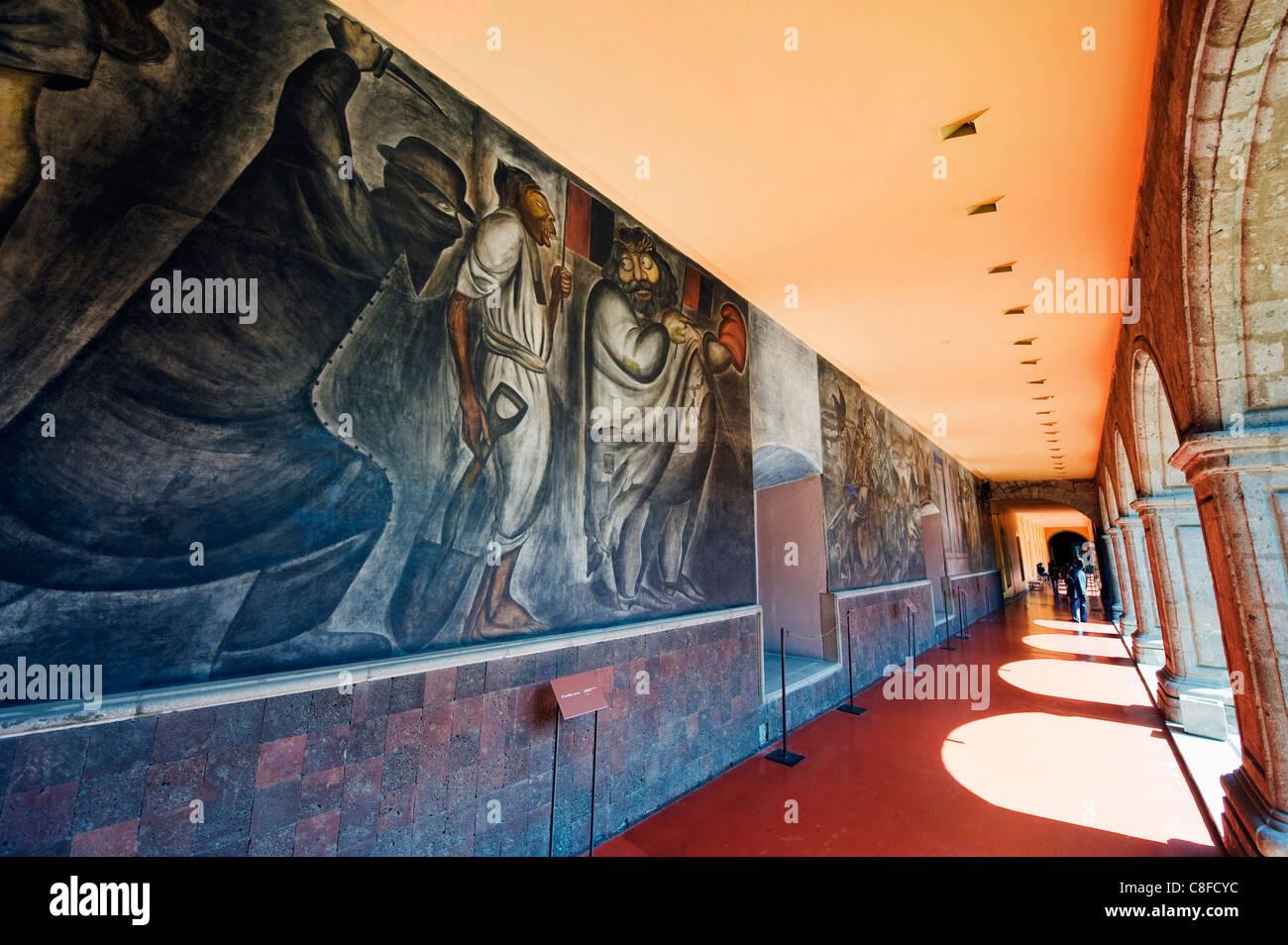Murals at Antiguo Colegio de San Ildefonso, District Federal, Mexico City, Mexico - Stock Image