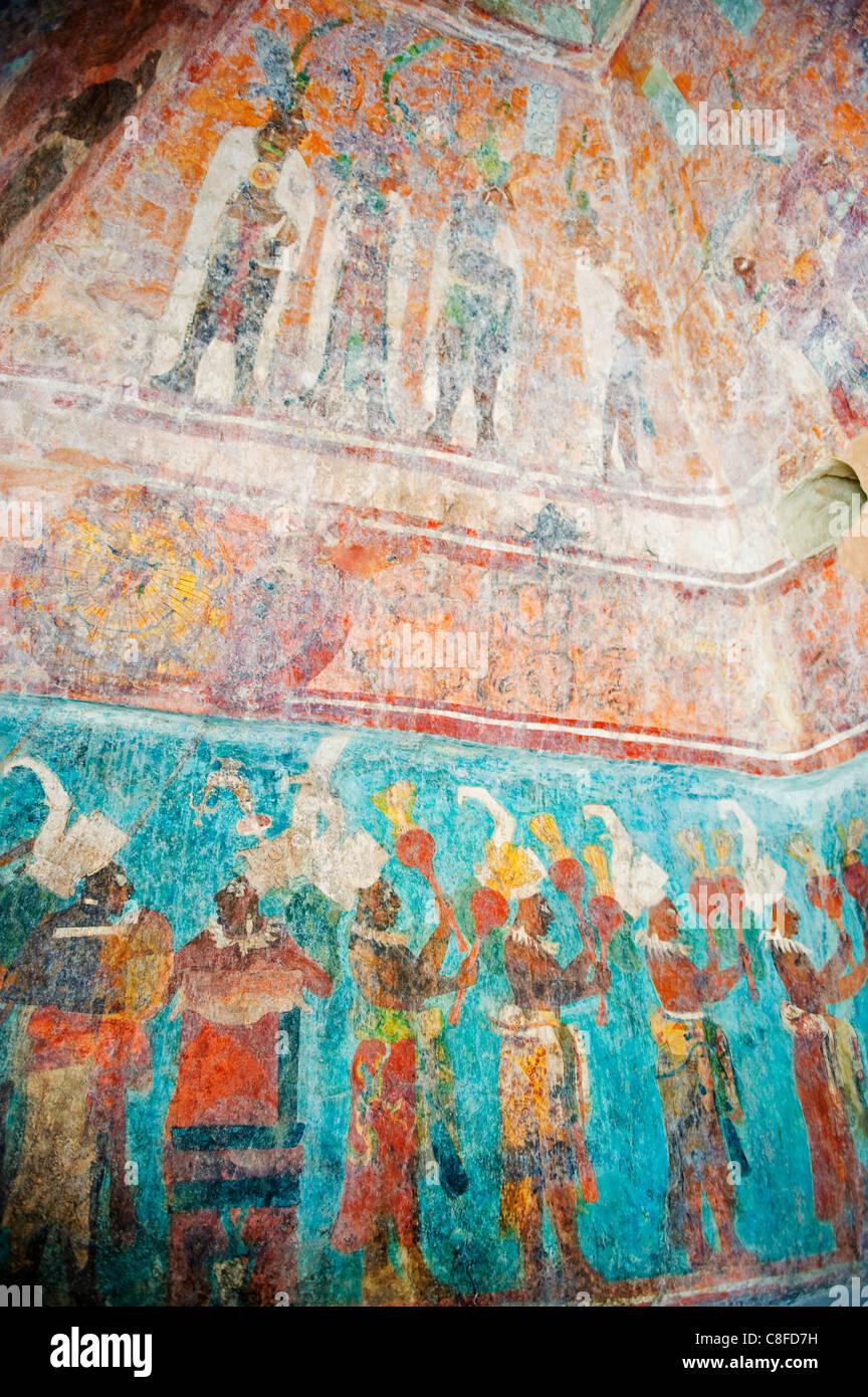 Murals at Bonampak Mayan ruins, Chiapas state, Mexico - Stock Image