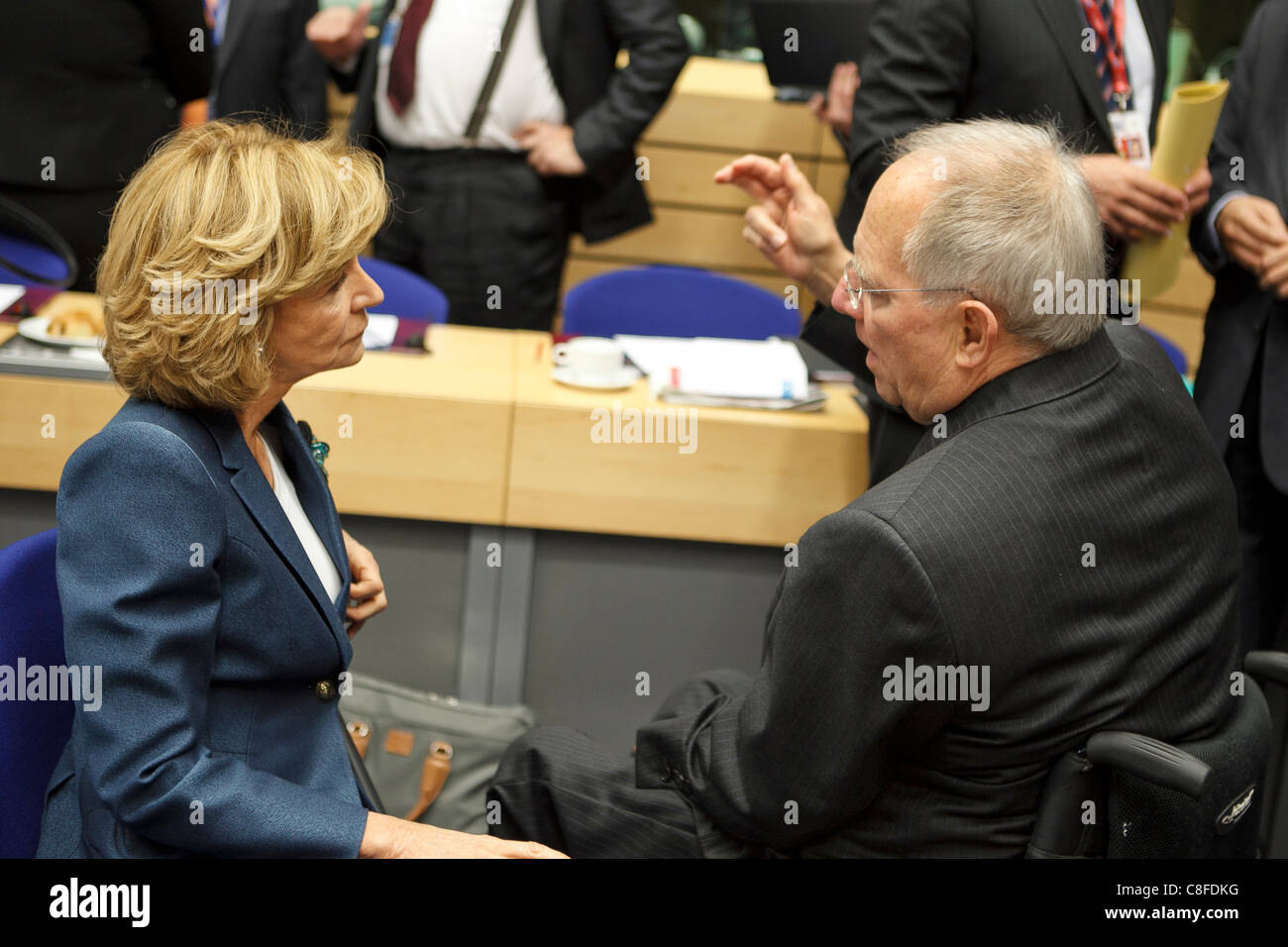 Pictured at the Ecofin meeting of European Union Finance Ministers   [Elena Salgado]  Finance Minister, Spain. Wolfgang - Stock Image