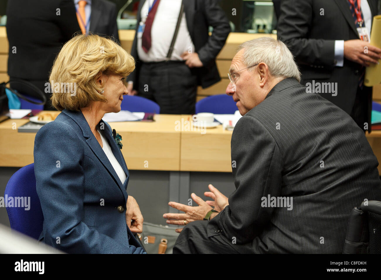 at the Ecofin meeting of European Union Finance Ministers   [Elena Salgado] , Finance Minister, Spain. Wolfgang - Stock Image