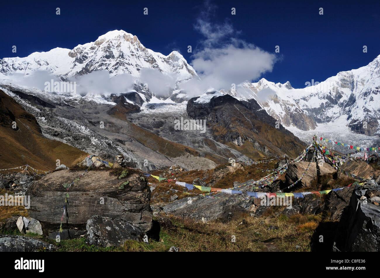 Annapurna Himalayan Range seen from Annapurna Base Camp, Annapurna Conservation Area, Gandaki, (Pashchimanchal, - Stock Image