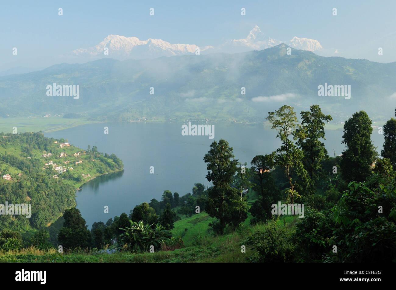 Phewa Tal (Phewa Lake) and Annapurna Himal and Machapuchare seen from Peace Pagoda, Pokhara, Gandaki, Pashchimanchal, - Stock Image