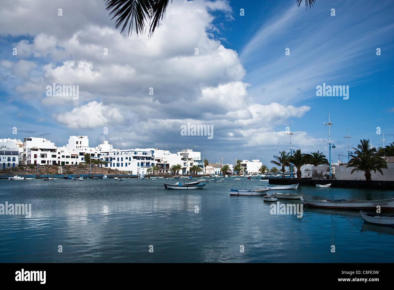 Arrecife, Atlantic, boat, Charco de San Gines, Spain, Europe, fishing boat, harbour, port, harbour arrangement, - Stock Image