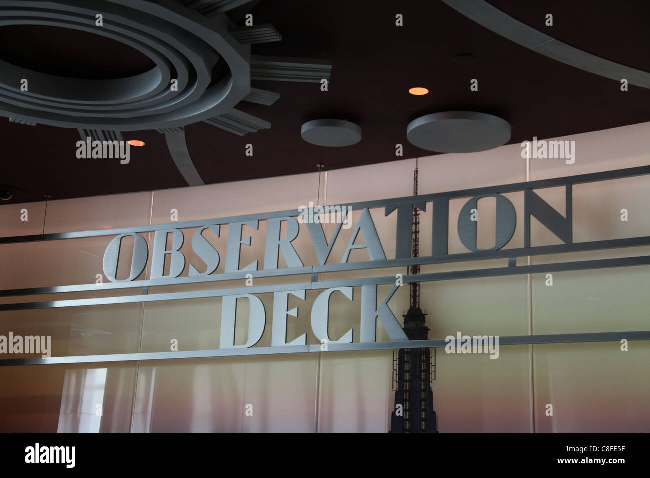 Observation Deck Sign inside the Empire State Building - Stock Image