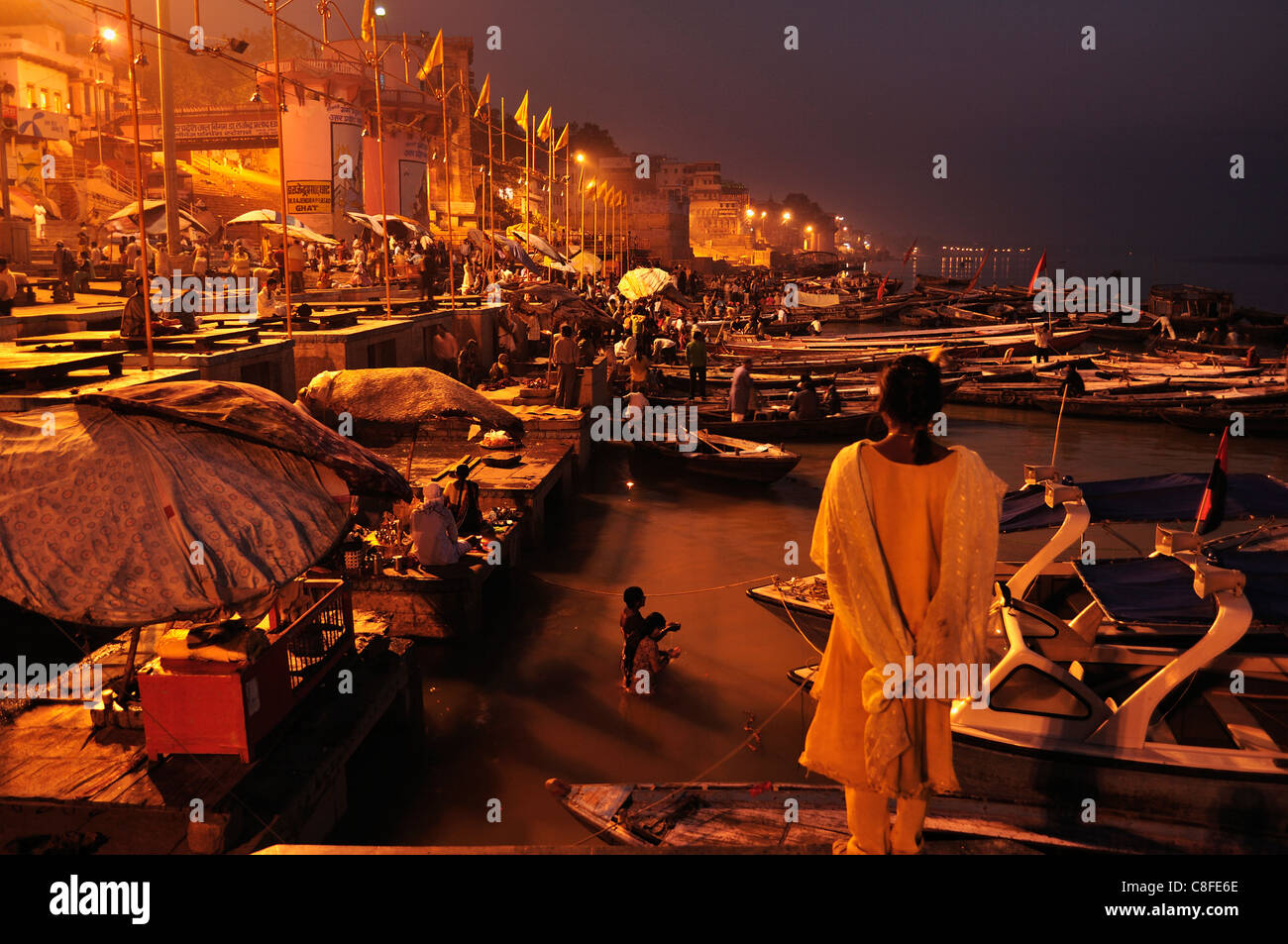 Ghats on the River Ganges, Varanasi (Benares, Uttar Pradesh, India - Stock Image