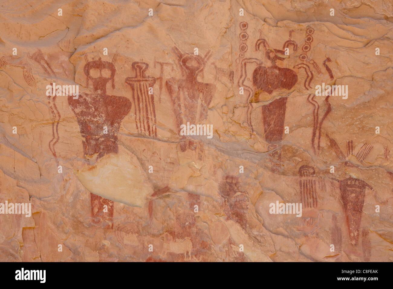Barrier Style pictographs, Sego Canyon, Utah, United States of America - Stock Image
