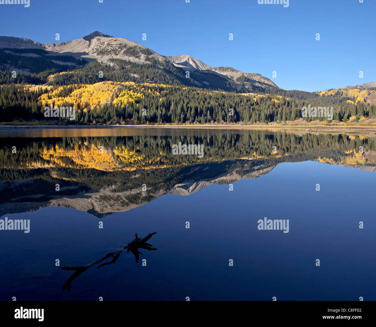 Lost Lake at dawn in the fall, Grand Mesa-Uncompahgre-Gunnison National Forest, Colorado, United States of America Stock Photo