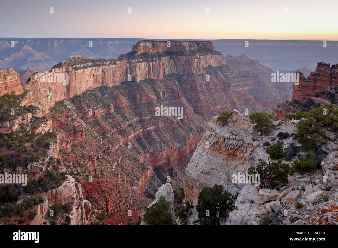 View from Cape Royal at dusk, North Rim, Grand Canyon National Park, UNESCO World Heritage Site, Arizona, USA Stock Photo