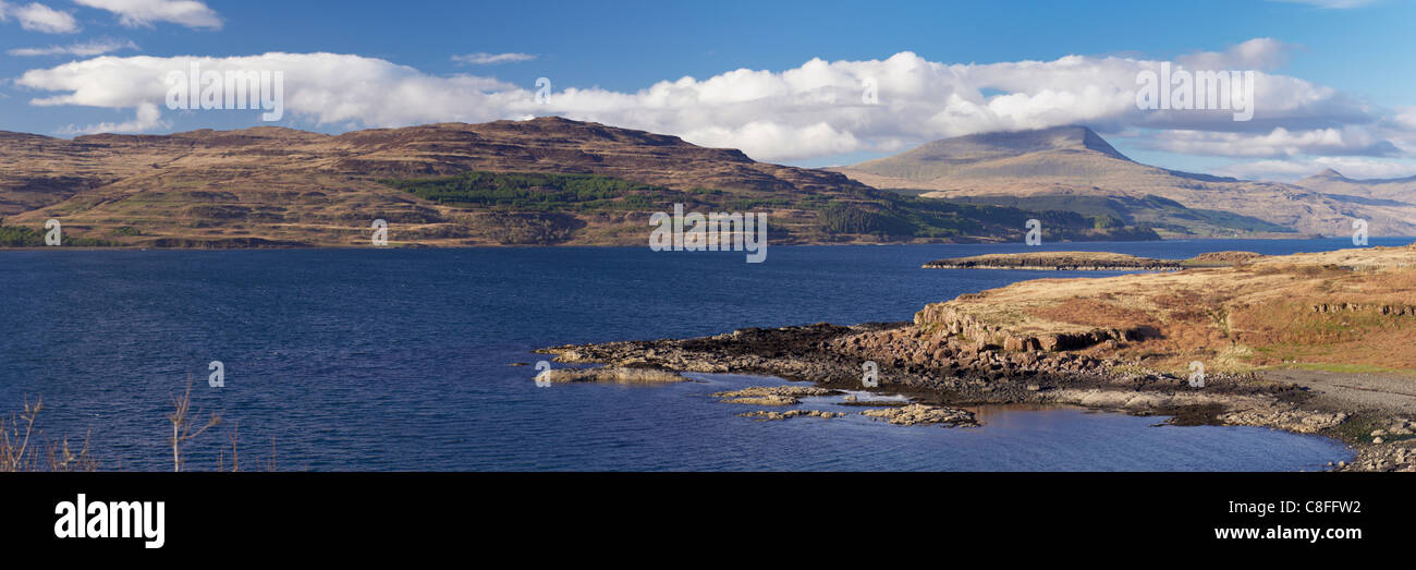 Loch Scridain and Ben More in the distance, Isle of Mull, Scotland, United Kingdom - Stock Image