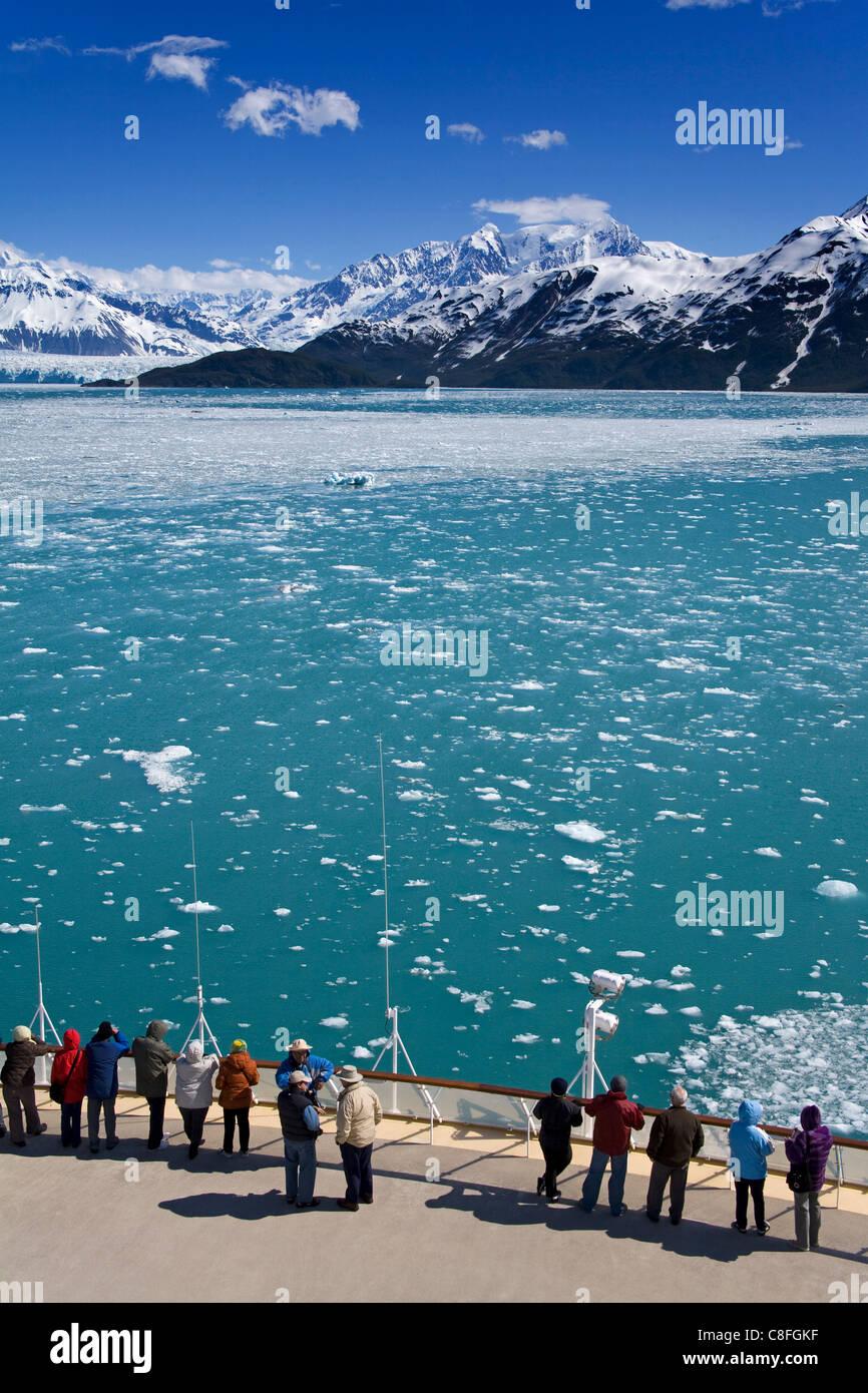 Cruise ship near Hubbard Glacier, Yakutat Bay, Gulf of Alaska, Southeast Alaska, United States of America - Stock Image