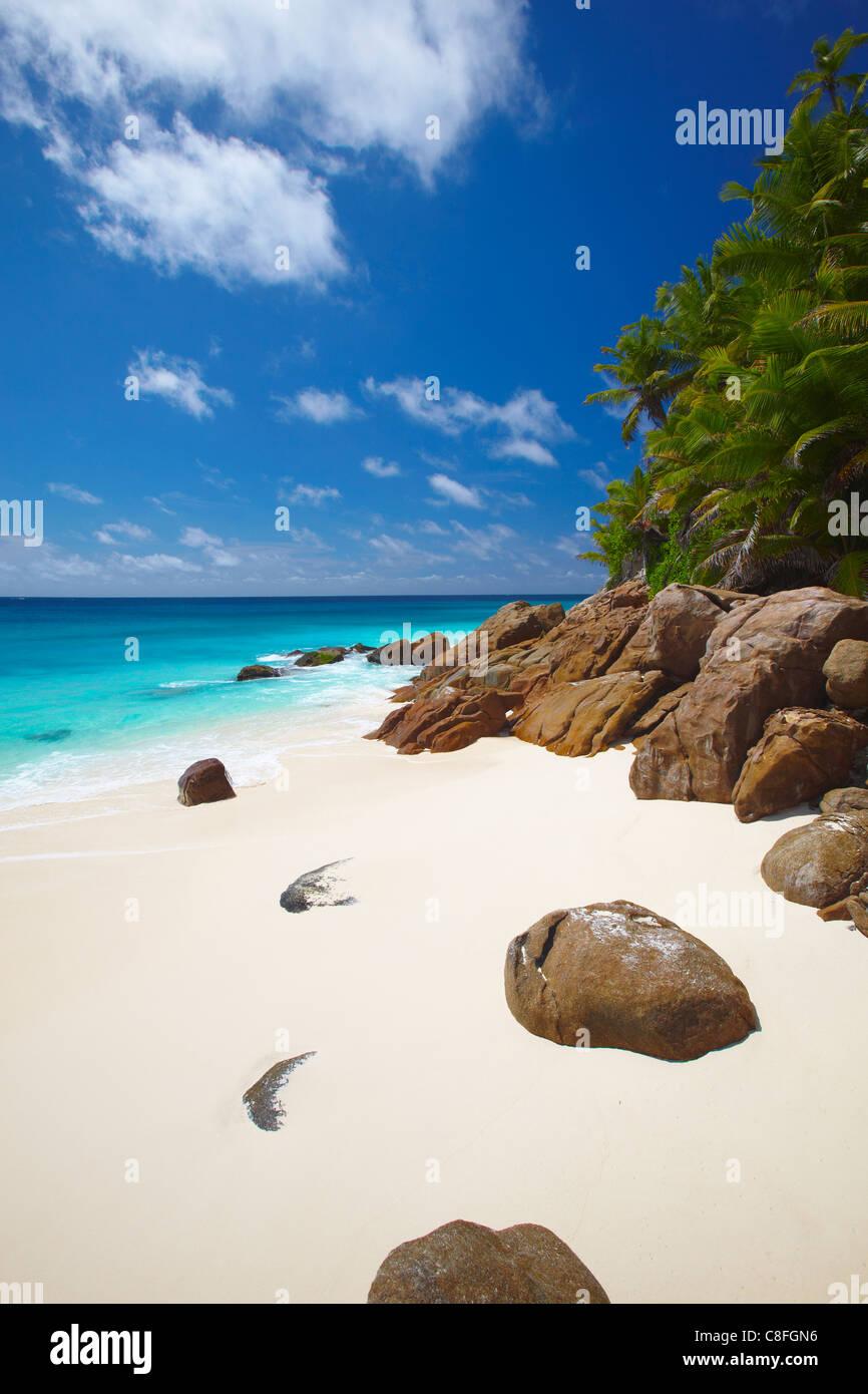 Deserted beach, La Digue, Seychelles, Indian Ocean - Stock Image