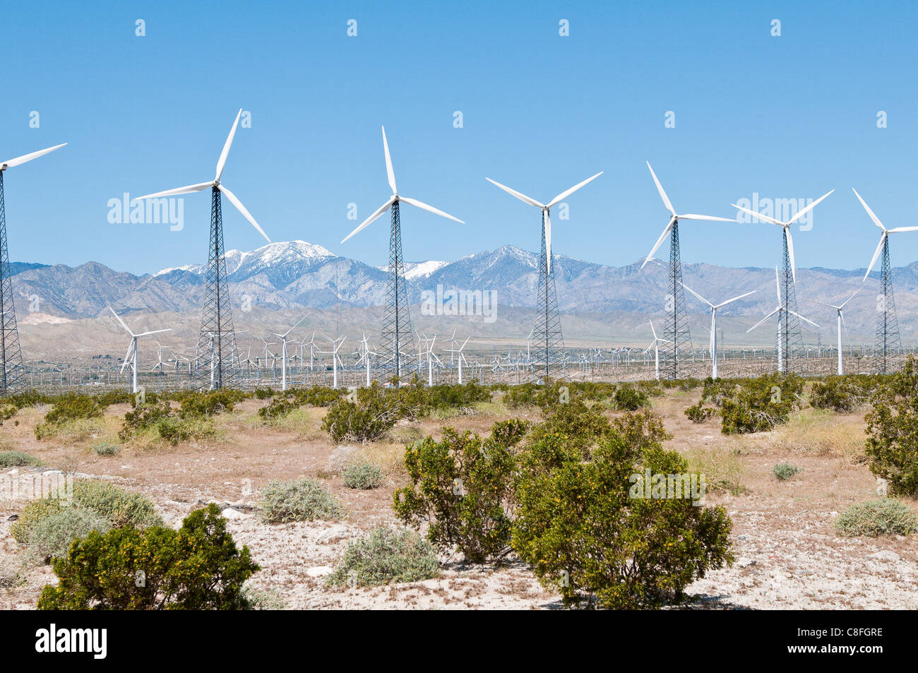 Wind farm outside Palm Springs, California, United States of America - Stock Image