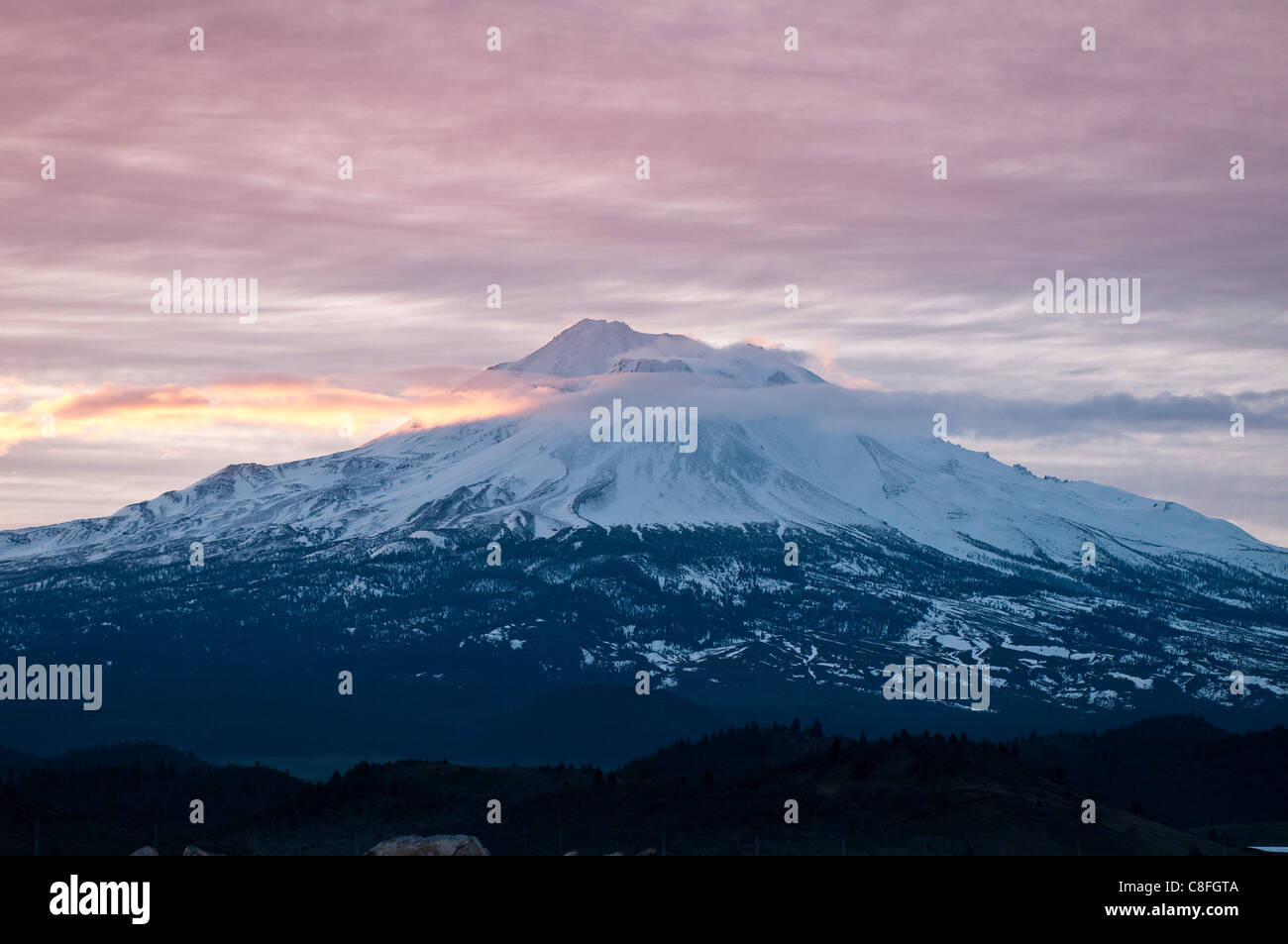 Dawn at Mount Shasta, California, United States of America - Stock Image