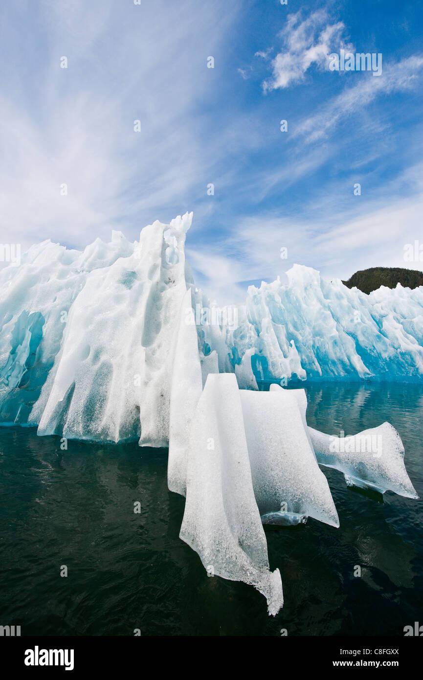 Iceberg in LeConte Bay, Southeast Alaska, Alaska, United States of America - Stock Image