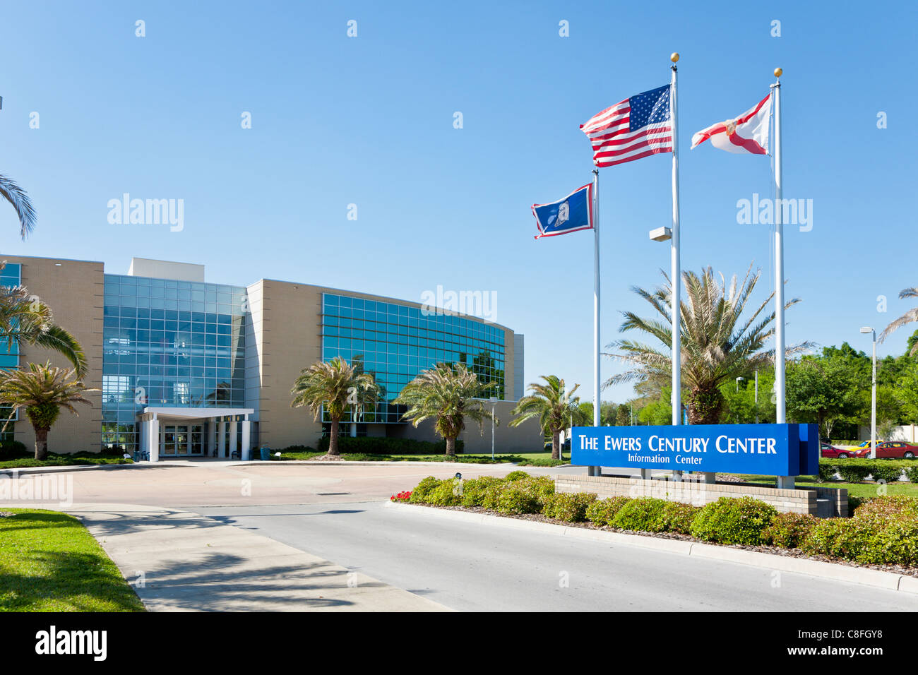 Entrance to The Ewers Centruy Center building at Central Florida College in Ocala Florida - Stock Image