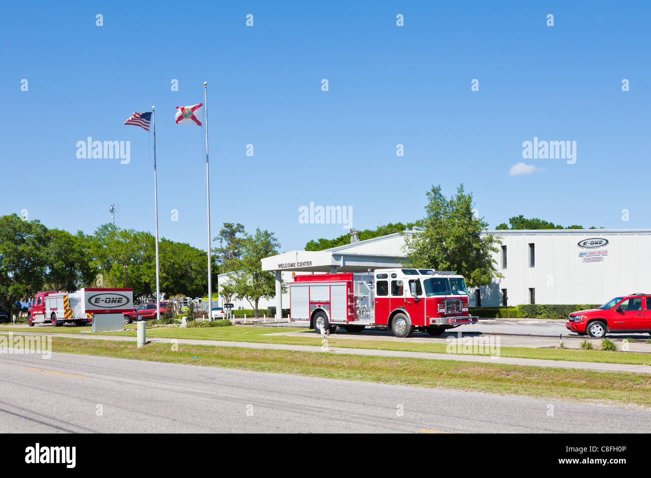 Florida Fire Truck Stock Photos Images 19601970 Mercedes Benz Trucks In Front Of E One Equipment Manufacturing Facility Ocala