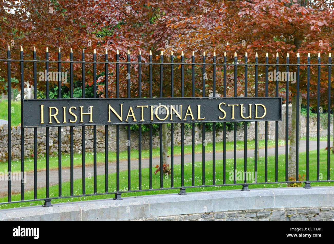 Gate to the Irish National Stud - Stock Image