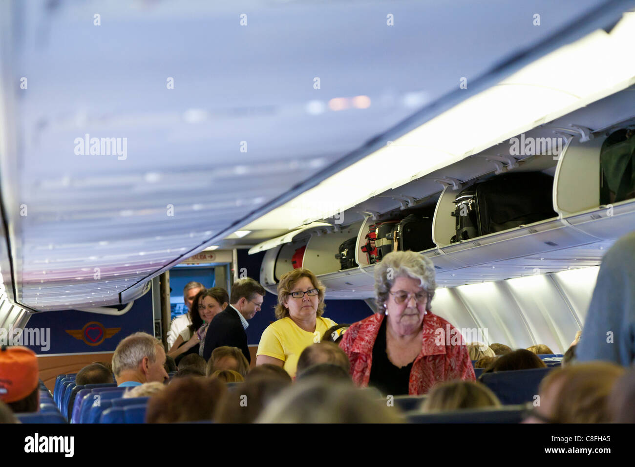 Passengers boarding Southwest Airlines jet in Orlando, Florida - Stock Image