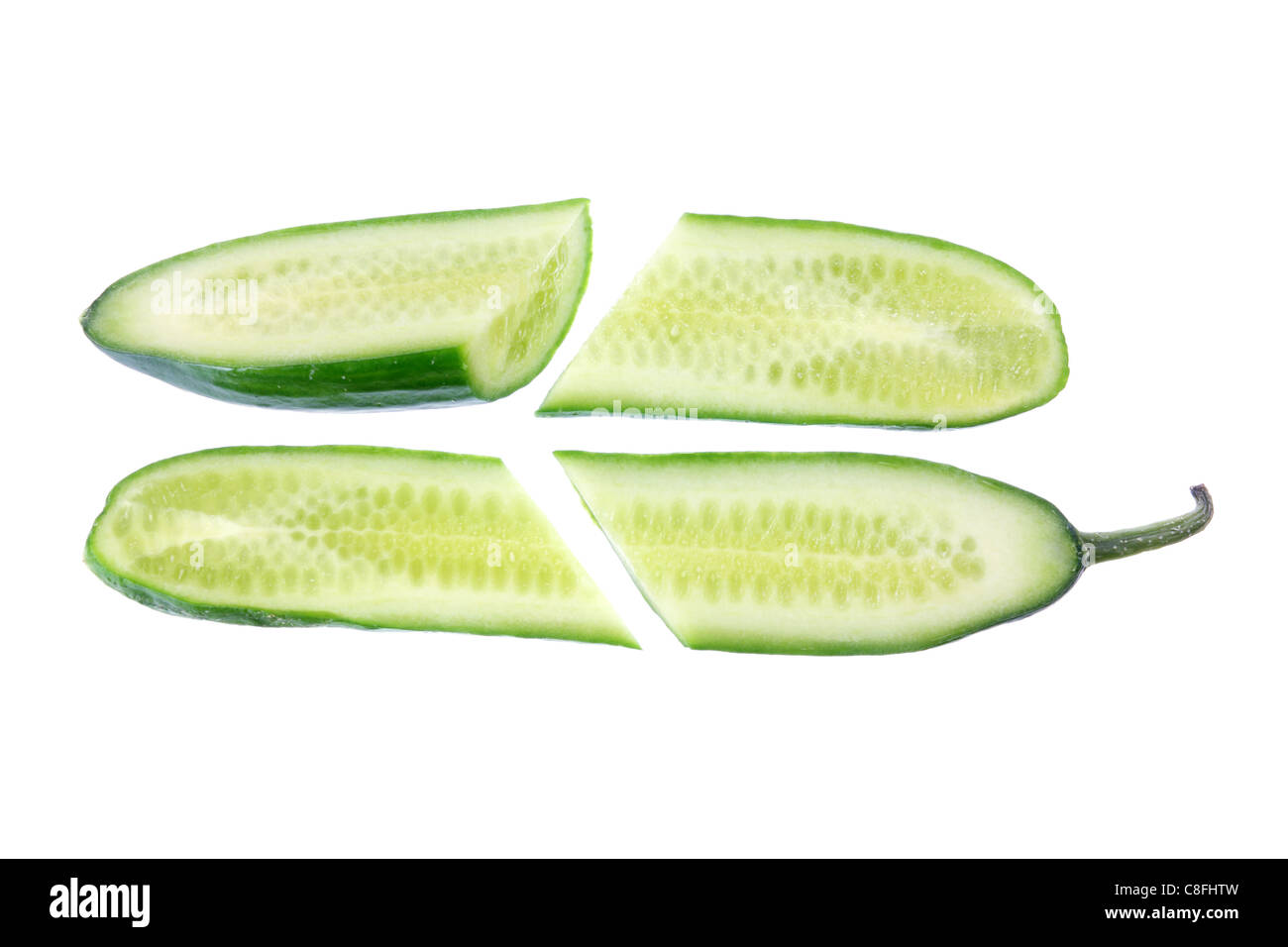 Pieces of Lebanese Cucumber - Stock Image