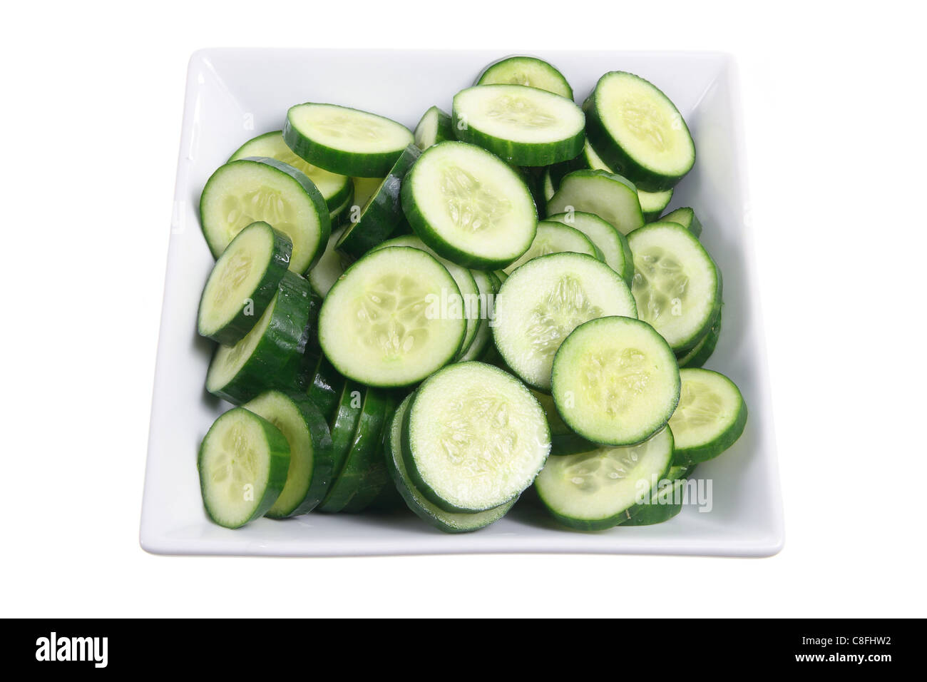 Plate of Lebanese Cucumber Slices - Stock Image
