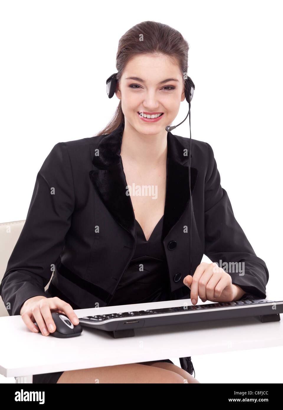 Smiling young woman - operator.Customer support. - Stock Image