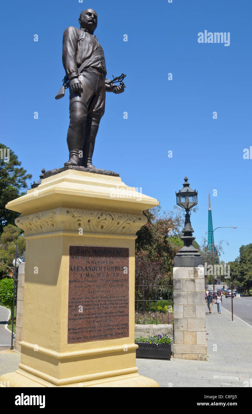 Monument to Alexander Forrest at the entrance to Stirling Gardens along St. George's Tce, Perth, Western Australia - Stock Image