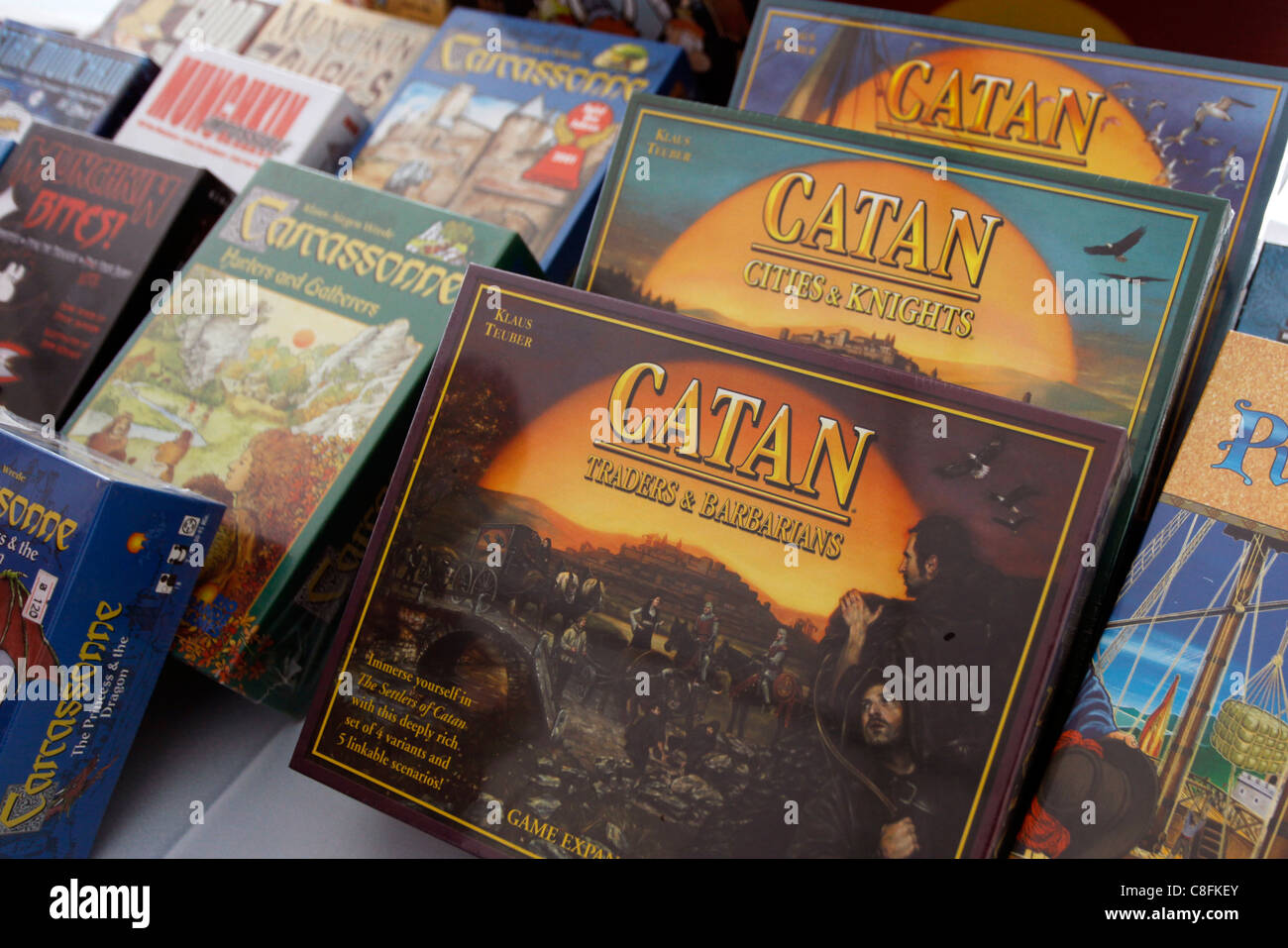 The Settlers of Catan is a multiplayer board game for sale in a game shop - Stock Image