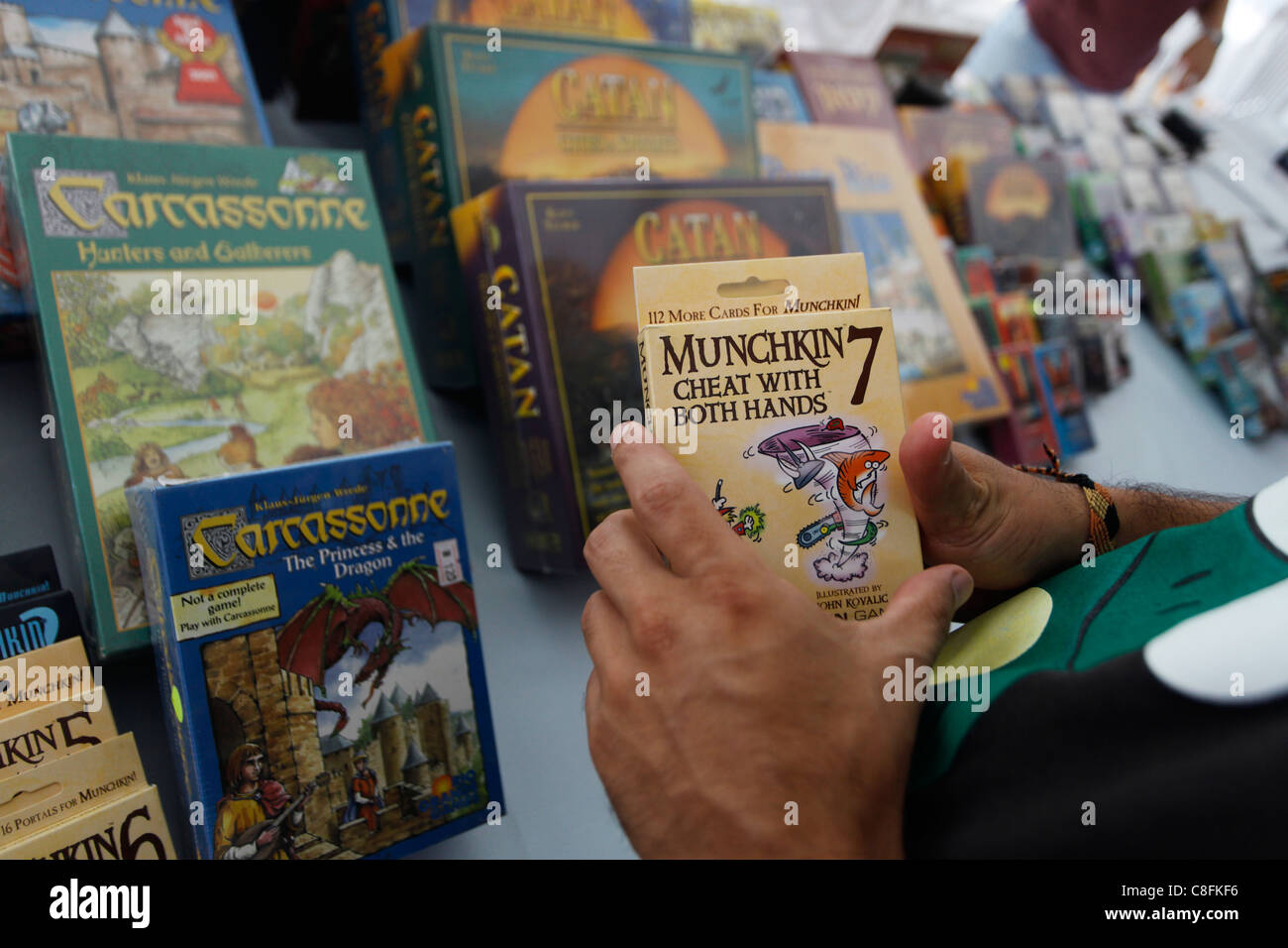 Board and cards games in a game shop - Stock Image