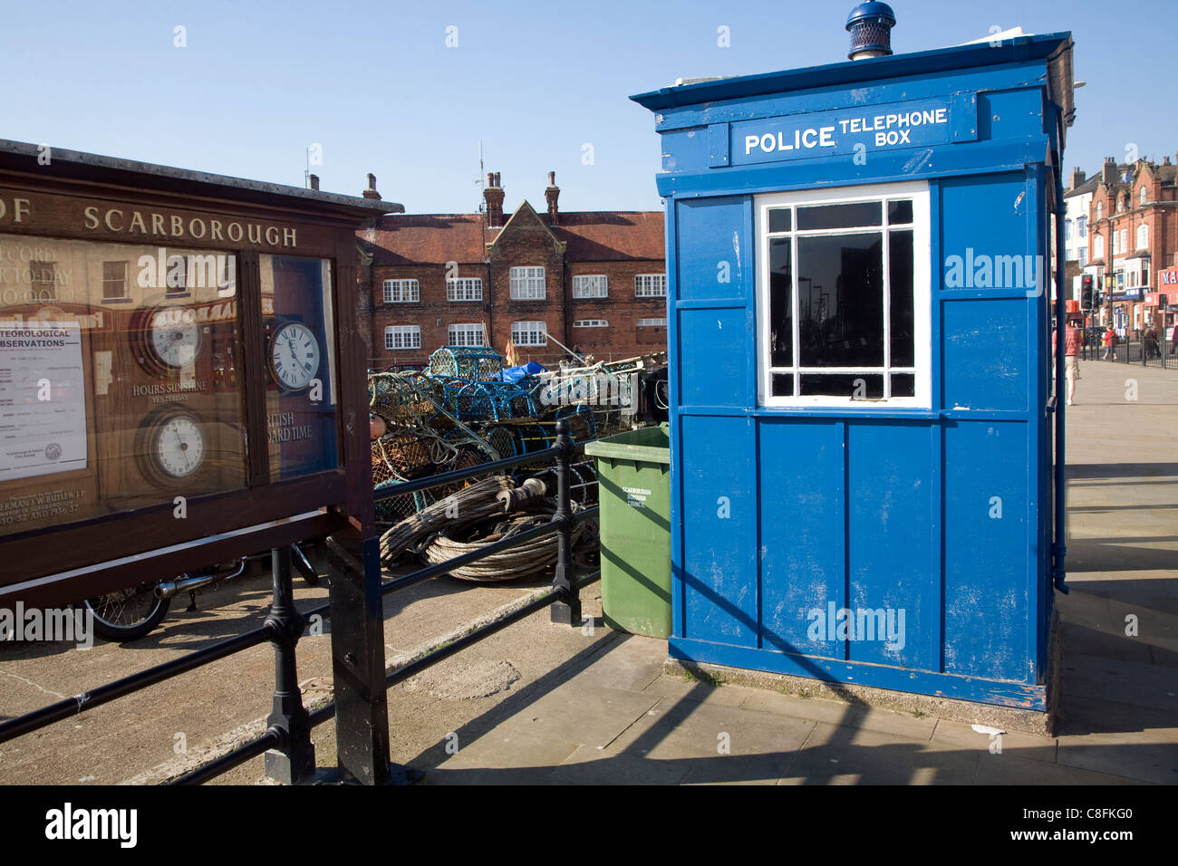 Old blue police telephone box on the seafront, Scarborough, Yorkshire, England - Stock Image