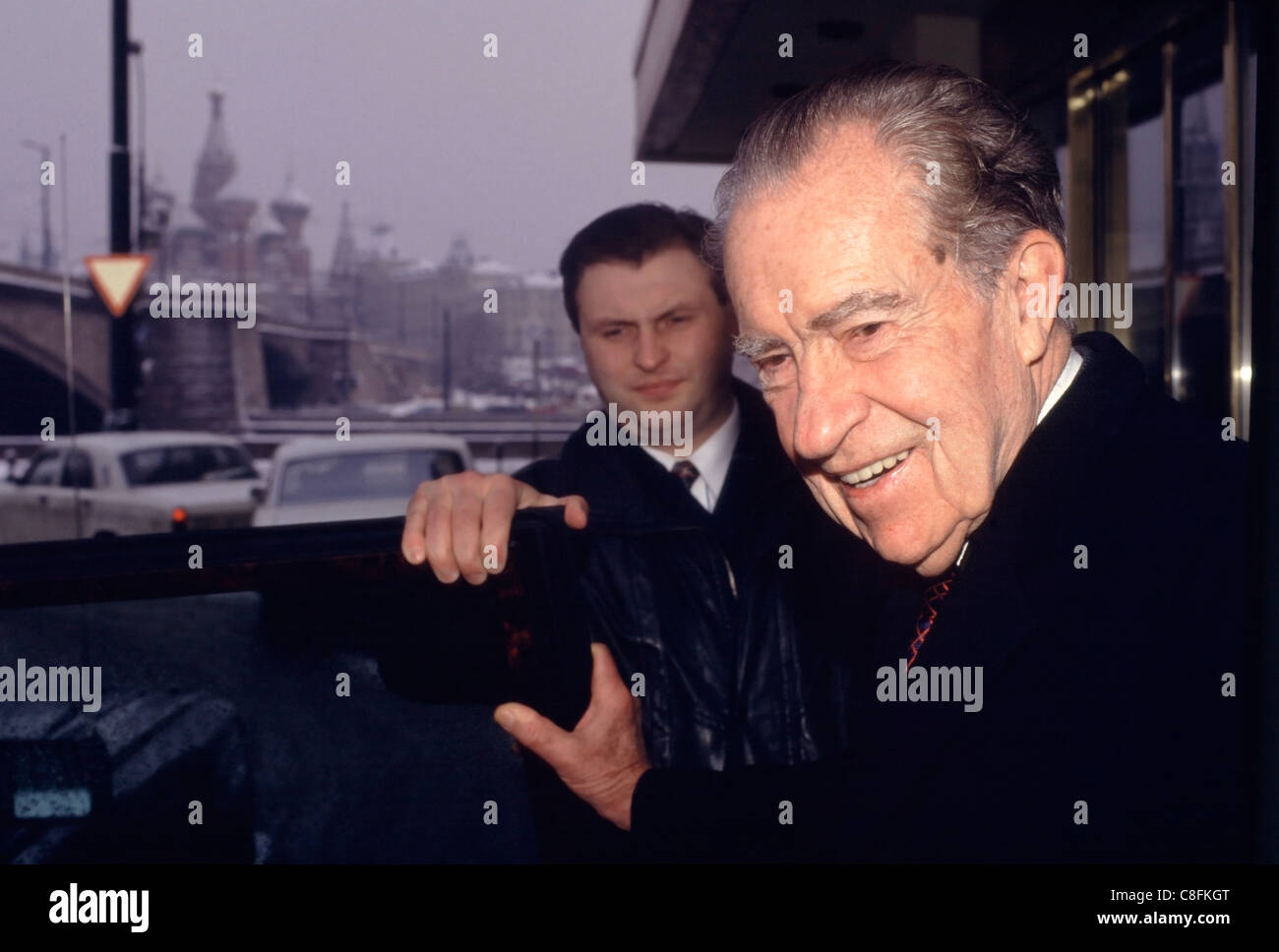 Former U.S. President Richard Nixon leaving his hotel Near the Kremlin in Moscow, Russia. - Stock Image