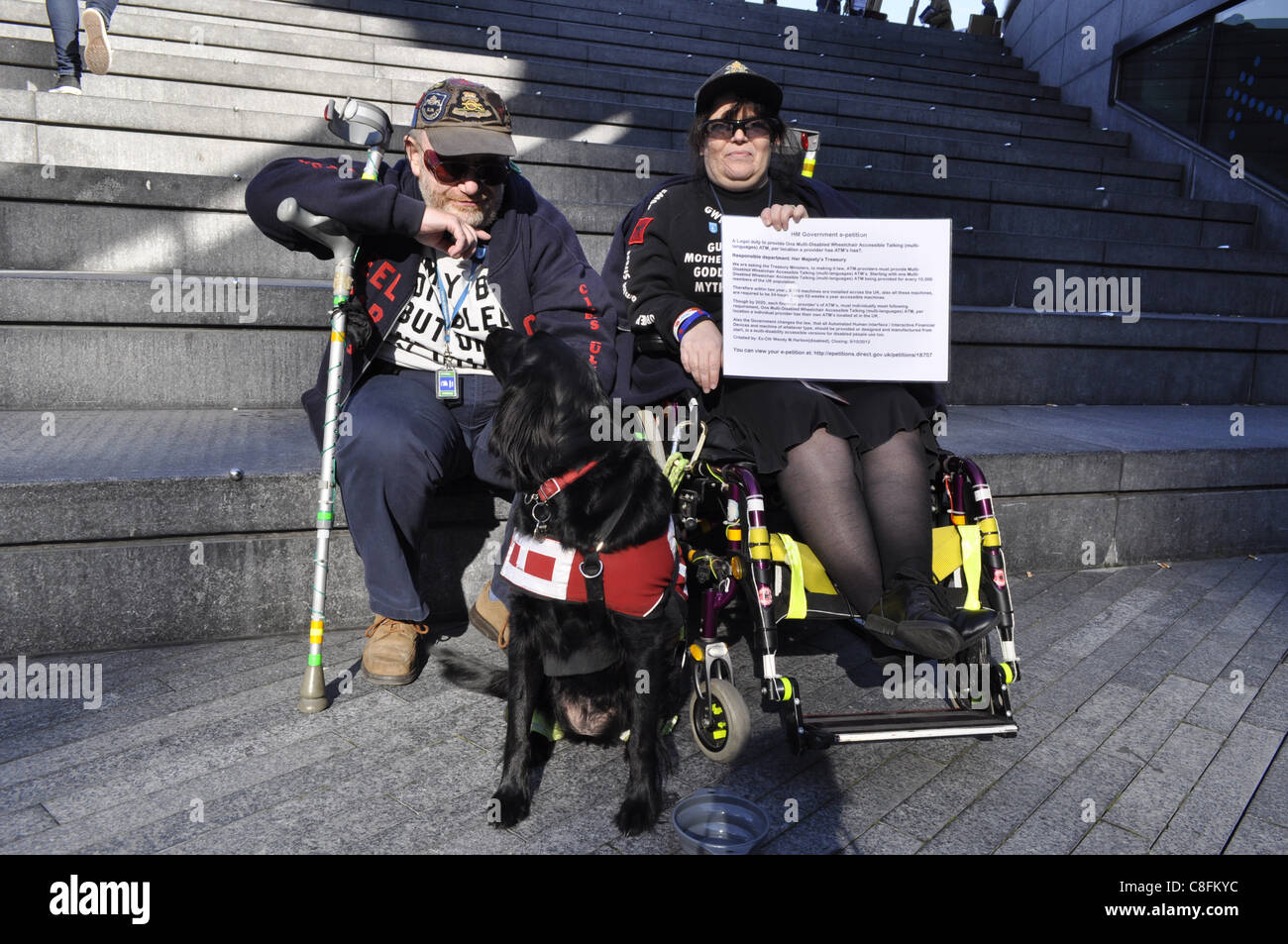 London, UK, 22/10/2011. Disabled people and their supporters outside City Hall in London UK attending the Hardest - Stock Image