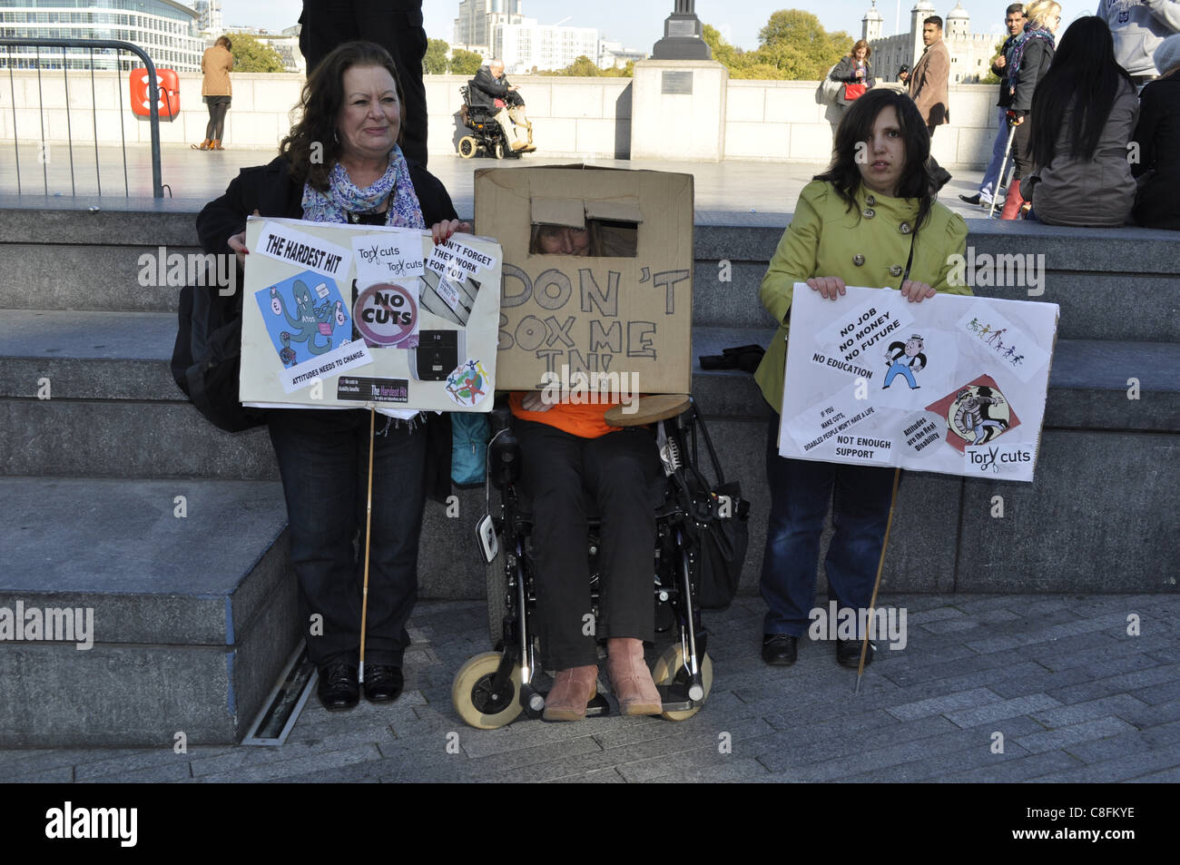 London, UK, 22/10/2011. Disabled people and their supporters outside City Hall in London UK attending the Hardest Stock Photo