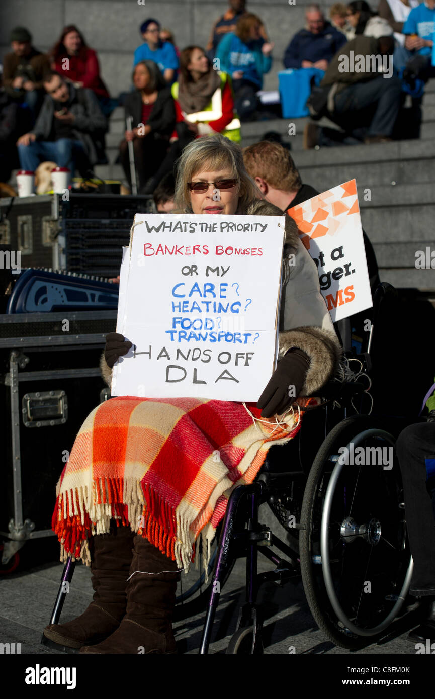Saturday 22nd October 2011, Queens Way, London. MS sufferer protesting against the cuts to the Disability Living - Stock Image