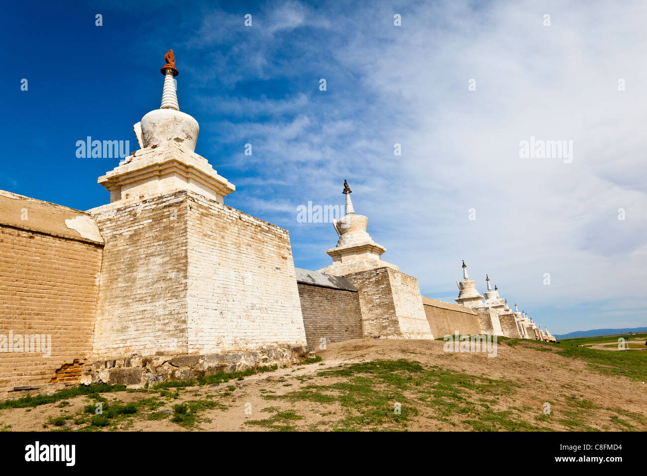 Stupas at the Erdene Zuu Monastery in Karakorum Mongolia - Stock Image