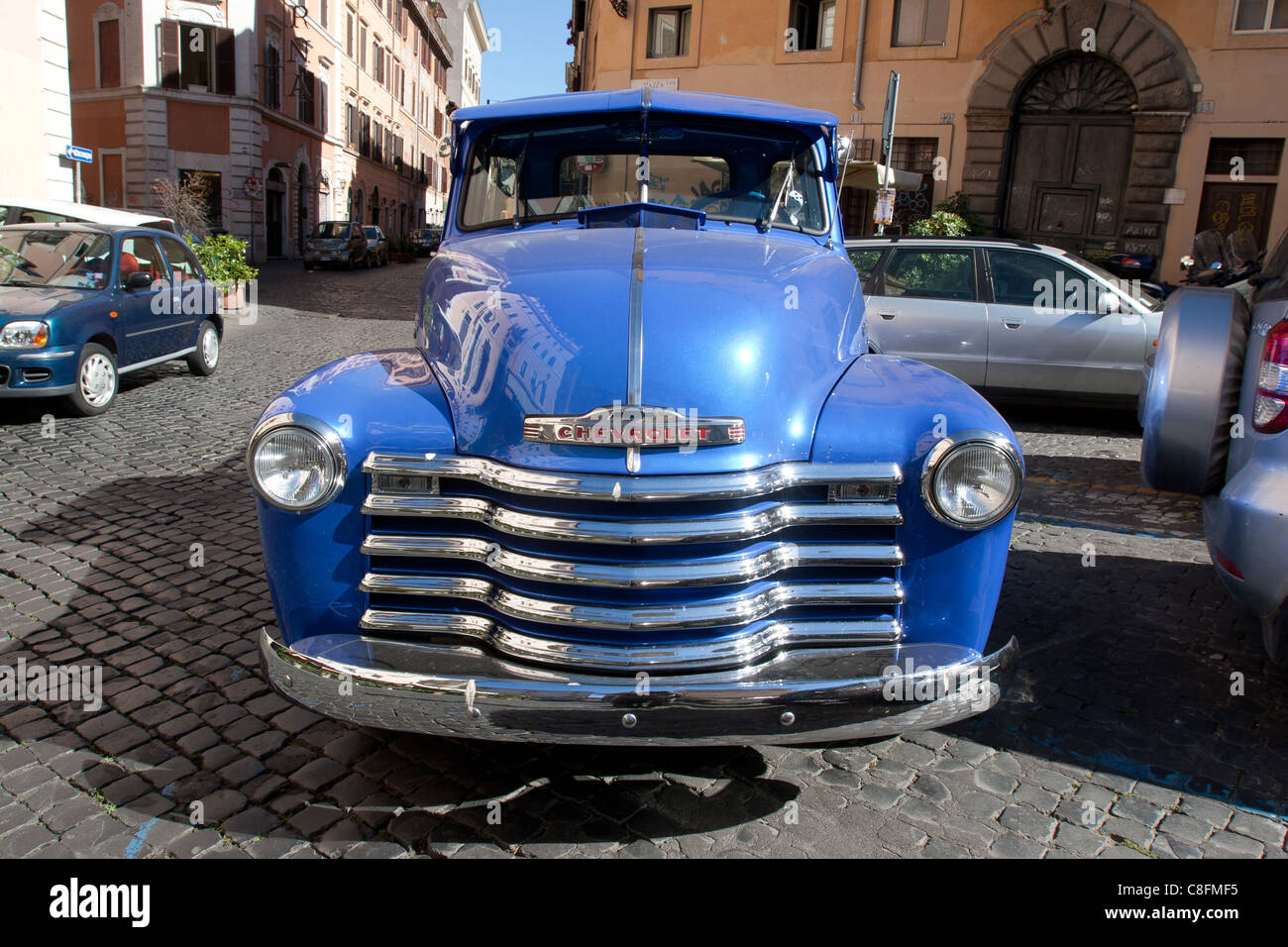 "classic car old ""1950 Chevrolet Pickup truck parked in Trastevere Rome Italy Stock Photo"