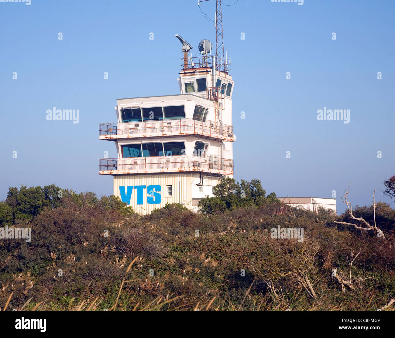 VTS Vessel Tracking Service Humber pilots building, Spurn Head, Yorkshire, England - Stock Image