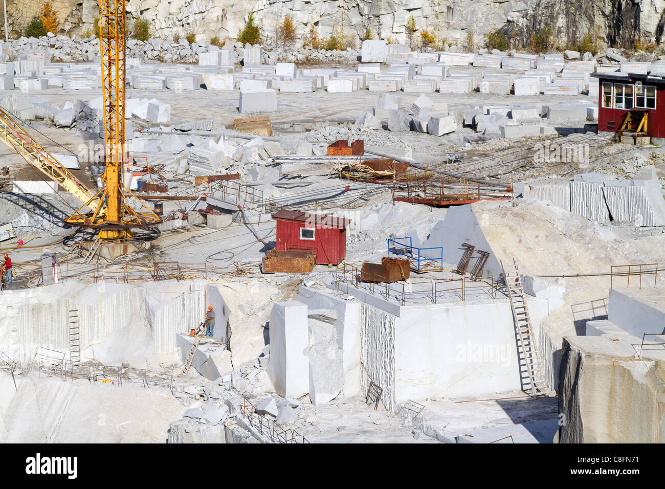 Quarry  landscape of Granite rock, stone, at Rock of Ages quarry near Barre, Vermont. - Stock Image